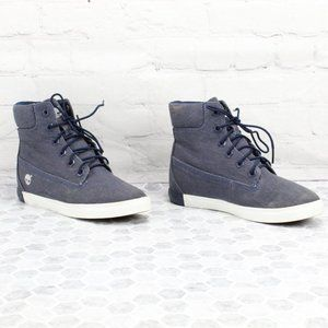 Timberland Blue Canvas High Top Sneakers Size 7 M